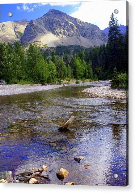 Running Eagle Creek Glacier National Park Acrylic Print