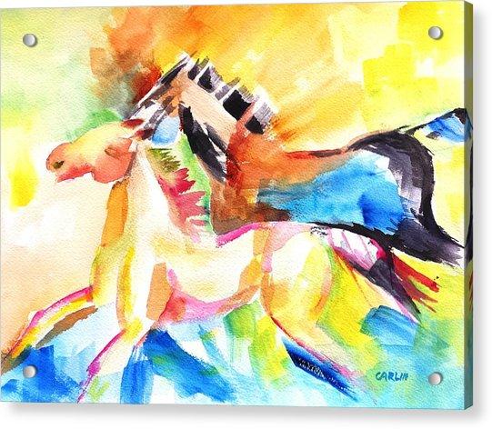 Running Horses Color Acrylic Print
