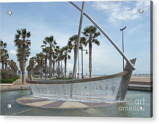 Sail Boat Fountain In Valencia Acrylic Print