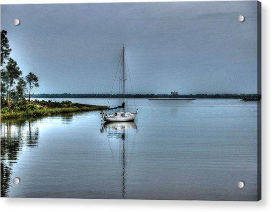 Sailboat Off Plash Acrylic Print