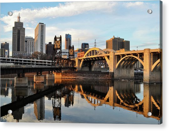 Saint Paul Mississippi River Sunset Acrylic Print