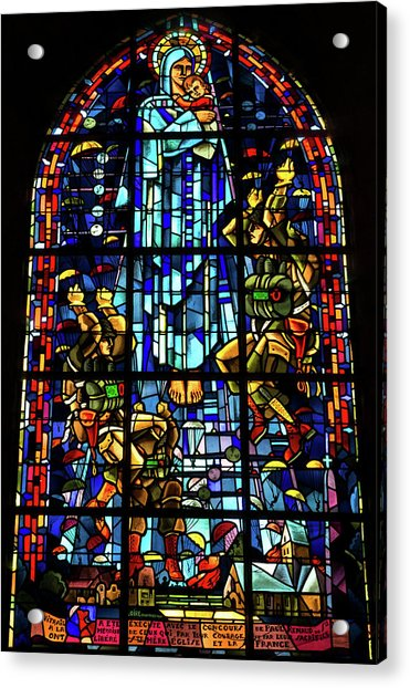 Sainte-mere-eglise Paratrooper Tribute Stained Glass Window Acrylic Print
