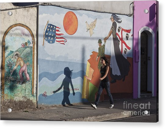 Acrylic Print featuring the photograph Sardinia Wall Painting  by Juergen Held