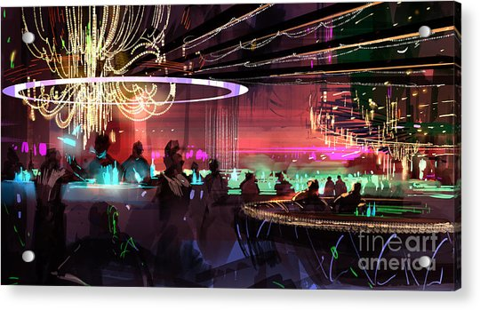 Acrylic Print featuring the painting Sci-fi Lounge by Tithi Luadthong