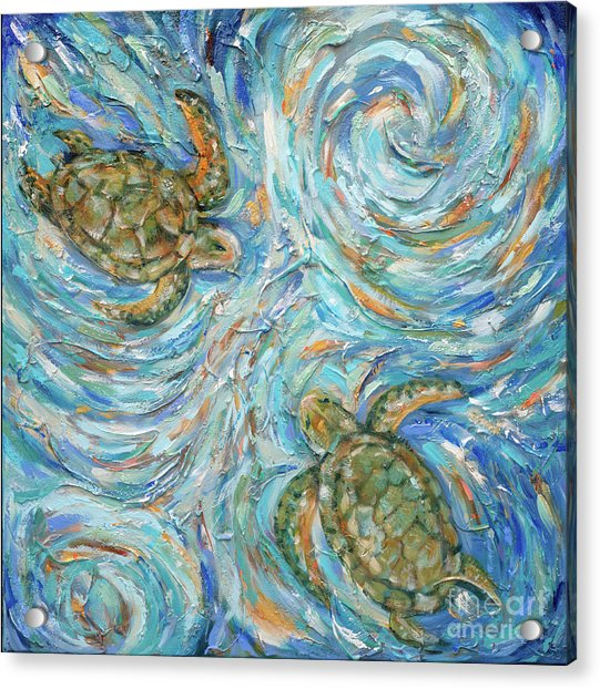 Sea Turtles In The Current Acrylic Print
