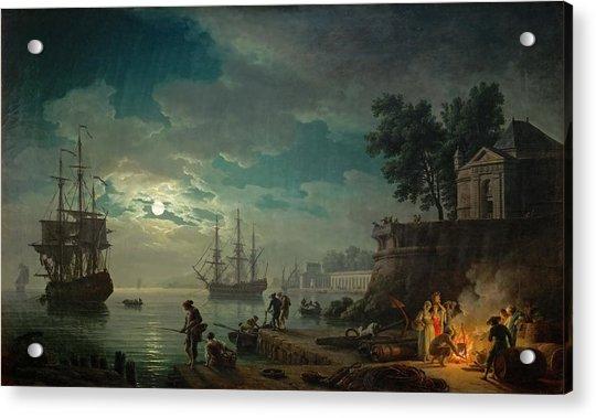 Seaport By Moonlight Acrylic Print
