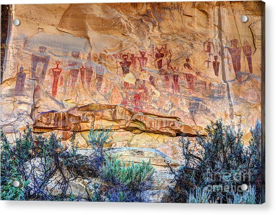 Sego Canyon Indian Petroglyphs And Pictographs Acrylic Print