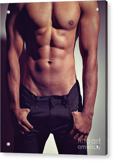 Sexy Male Muscular Body Acrylic Print