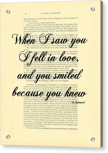 Shakespeare Quote Acrylic Print