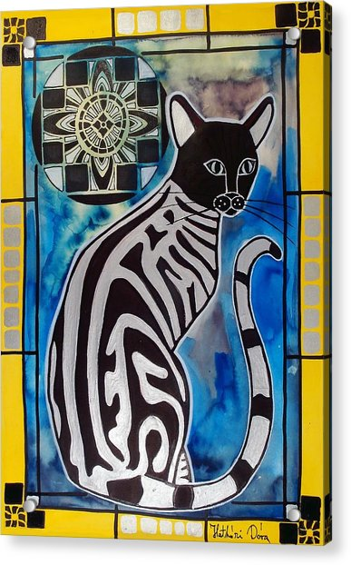 Silver Tabby With Mandala - Cat Art By Dora Hathazi Mendes Acrylic Print