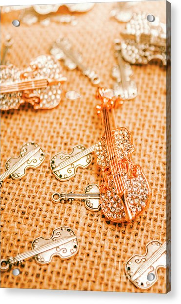 Silver Violin Pendant With Diamonds Acrylic Print