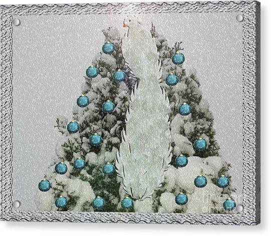 Silver Winter Bird Acrylic Print