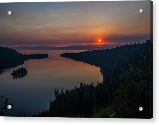 Smoke-diffused Sun At Emerald Bay Acrylic Print