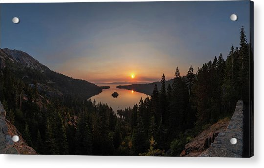 Smokey Sunrise At Emerald Bay Acrylic Print