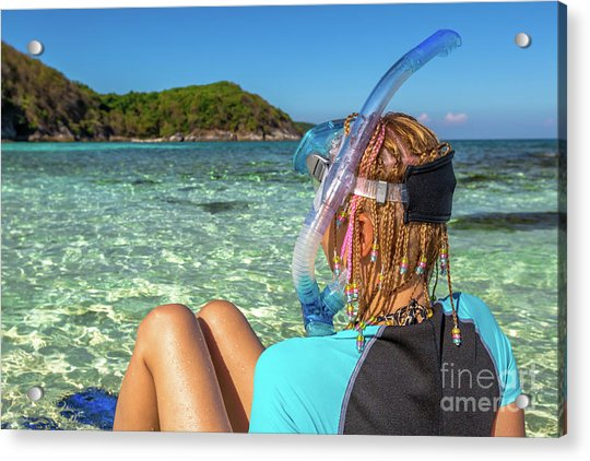 Snorkeler Relaxing On Tropical Beach Acrylic Print