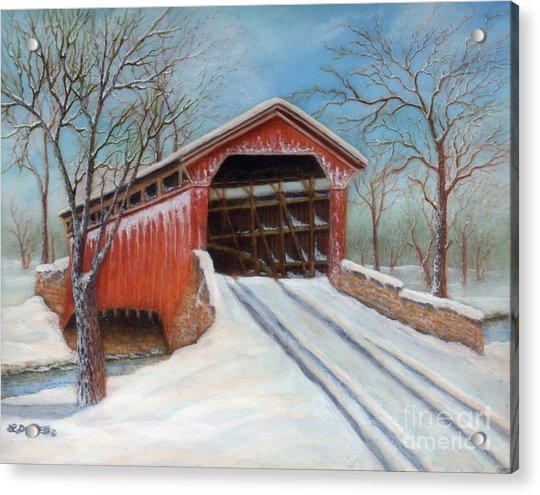 Snow Covered Bridge Acrylic Print