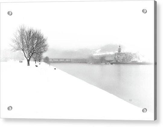 Snowfall On The River Danube At Ybbs Acrylic Print