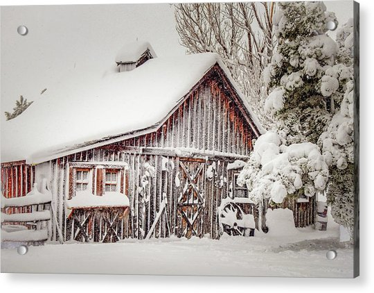 Snowy Country Barn Acrylic Print