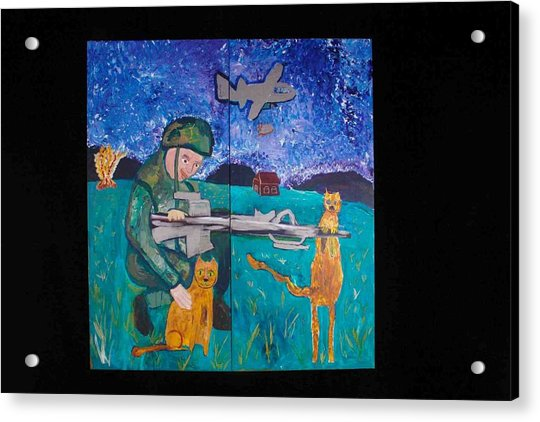 Soldier And Two Cats Acrylic Print
