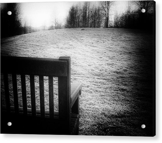 Solitary Bench In Winter Acrylic Print