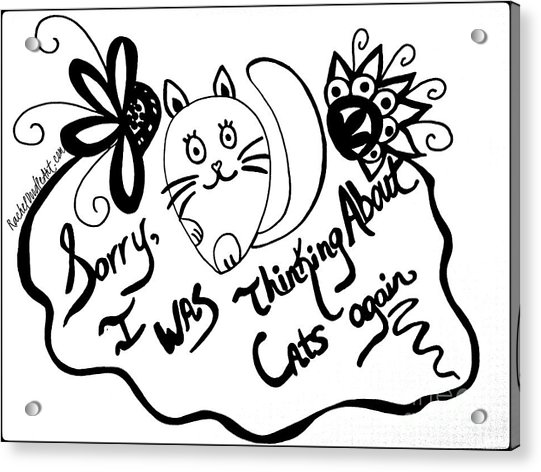 Acrylic Print featuring the drawing Sorry, I Was Thinking About Cats Again by Rachel Maynard