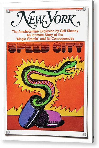 Acrylic Print featuring the mixed media Speed City by Milton Glaser