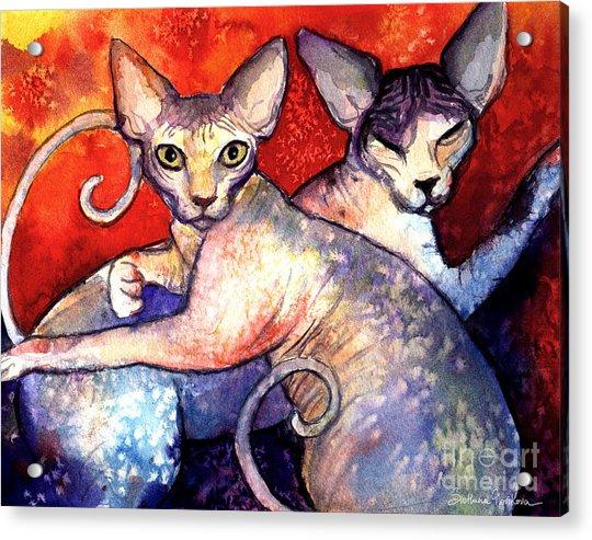 Sphynx Cats Sphinx Family Painting  Acrylic Print