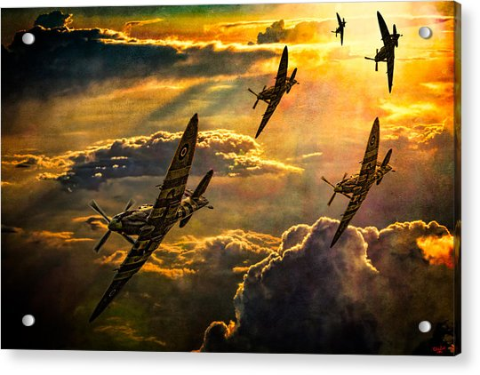 Acrylic Print featuring the photograph Spitfire Attack by Chris Lord