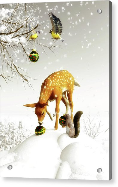 Acrylic Print featuring the painting Squirrels And Deer Christmas Time by Jan Keteleer