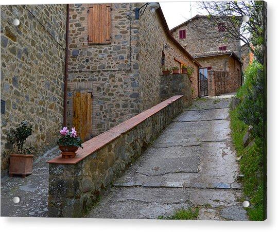 Steep Street In Montalcino Italy Acrylic Print