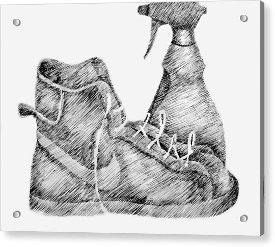 Still Life With Shoe And Spray Bottle Acrylic Print