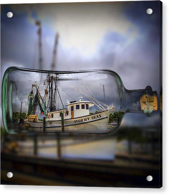 Stormy Seas - Ship In A Bottle Acrylic Print