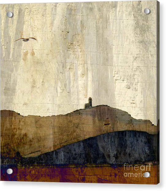 Strata With Lighthouse And Gull Acrylic Print