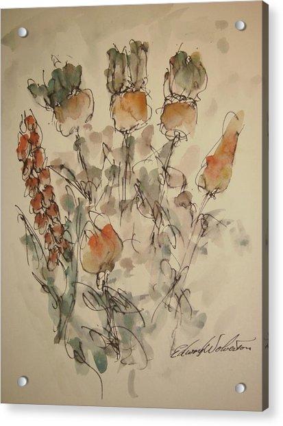 Study Of Flowers V Acrylic Print by Edward Wolverton