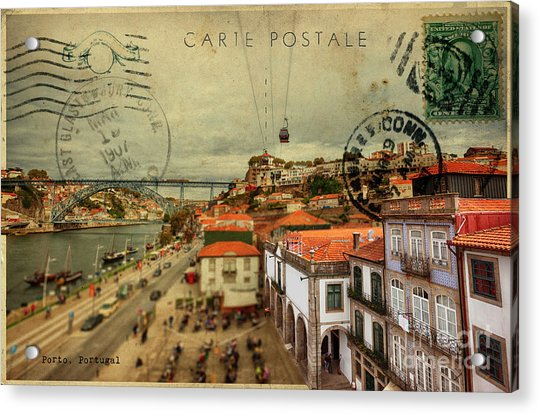 stylish retro postcard of Porto Acrylic Print