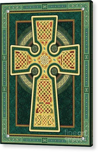 Stylized Celtic Cross In Green Acrylic Print