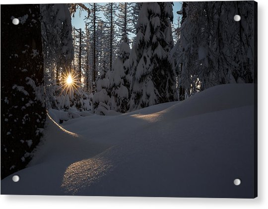 Sunburst In Winter Fairytale Forest Harz Acrylic Print