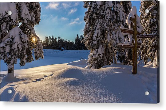 sunrise at the Oderteich, Harz Acrylic Print