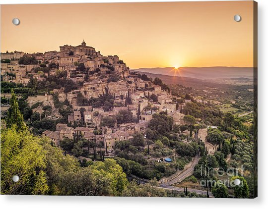 Acrylic Print featuring the photograph Sunrise In Gordes Provence  by Juergen Held