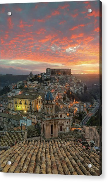 Acrylic Print featuring the photograph Sunrise In Ragusa Ibla by Mirko Chessari