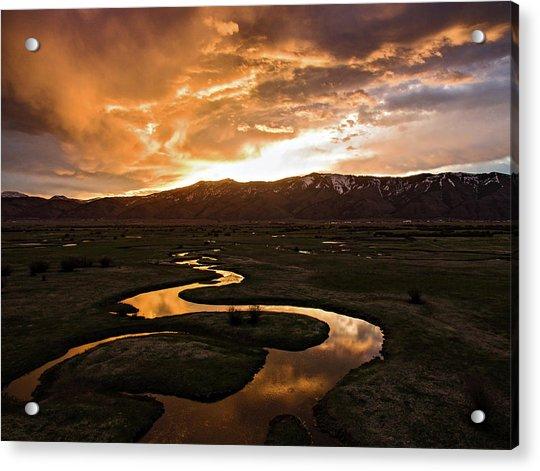 Sunrise Over Winding River Acrylic Print