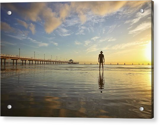 Sunrise Silhouette Down By The Pier. Acrylic Print
