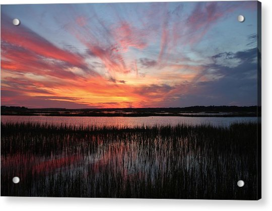 Acrylic Print featuring the photograph Sunset And Reflections 2 by Cynthia Guinn