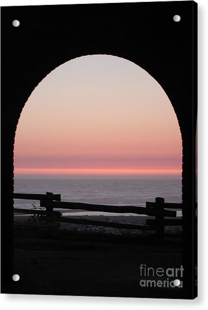Sunset Arch With Fog Bank Acrylic Print