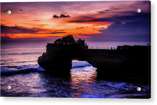 Acrylic Print featuring the digital art Sunset At Tanah Lot by Kevin McClish