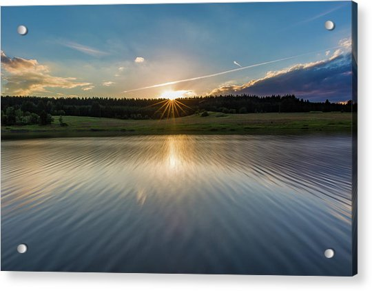 Sunset At The Mandelholz Dam, Harz Acrylic Print