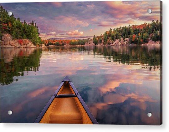 Sunset Paddle Acrylic Print by Tracy Munson