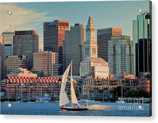 Sunset Sails On Boston Harbor Acrylic Print