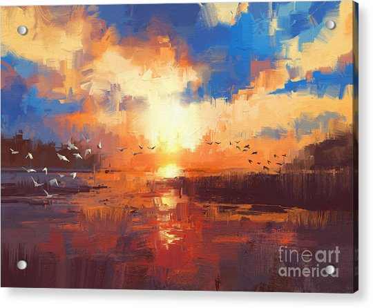 Acrylic Print featuring the painting Sunset by Tithi Luadthong