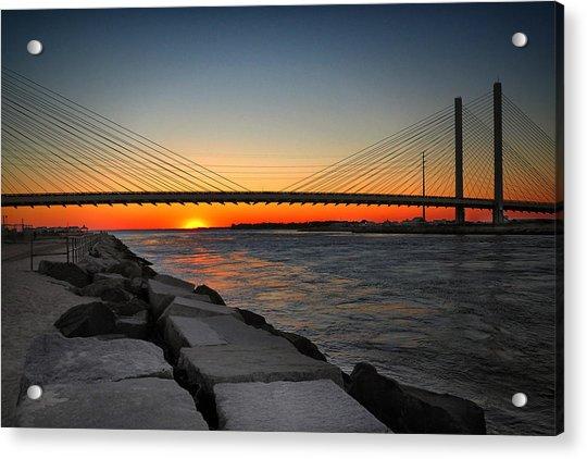 Sunset Under The Indian River Inlet Bridge Acrylic Print